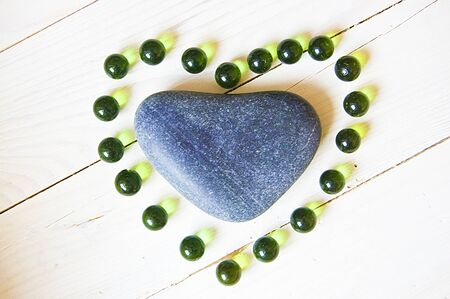 commercial event: Heart made of natural stone and glass beads