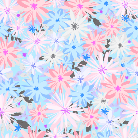 Seamless pattern with colorful flowers. Floral background for textile, wallpaper,  print, scrapbooking, decoupage. Illustration