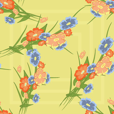 Floral cute background. Vector seamless flower pattern on a light background