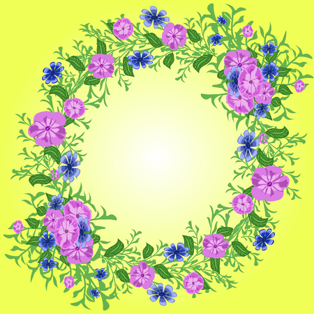 marco de vector con flores brillantes, estampado de bufanda