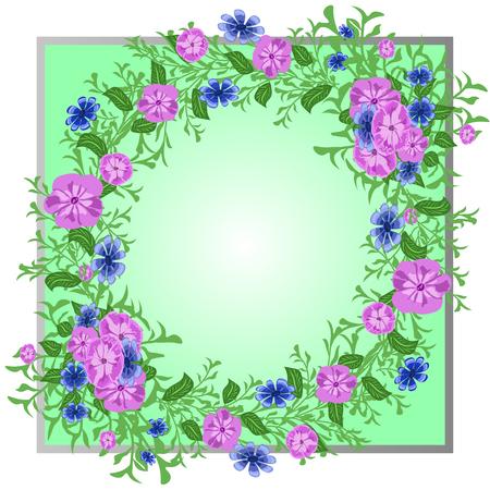 marco de vector con flores brillantes, estampado de bufanda Ilustración de vector