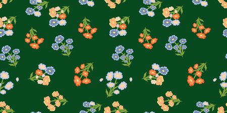 vector seamless flower pattern with wild flowers