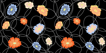 vector seamless flower pattern with wild flowers. Floral arrangements on geometric background
