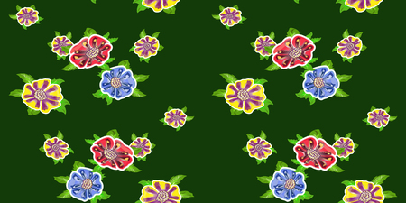 vector seamless floral pattern, bright colored flowers on a dark background