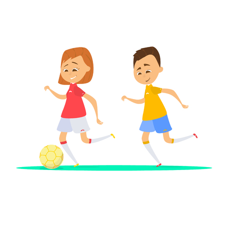 cute cartoon kids playing soccer, vector illustration of little cartoon boy and girl playing football Illustration