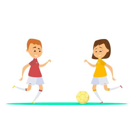 niños de dibujos animados lindo jugando al fútbol, ilustración vectorial de niño y niña de dibujos animados jugando al fútbol
