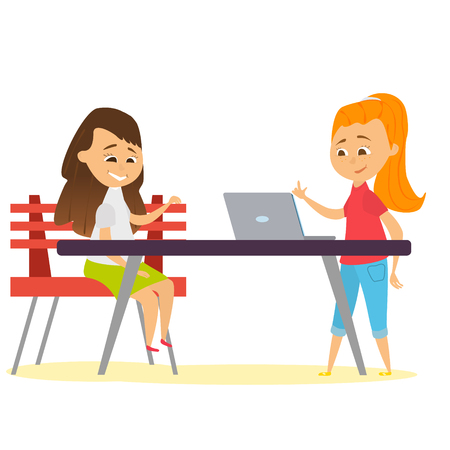 characters of the girls are looking at the tablet. Girls to study in the classroom. Vector illustration of children in cartoon style.
