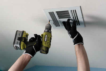 Air Duct Cleaning, vents, registers Stock Photo