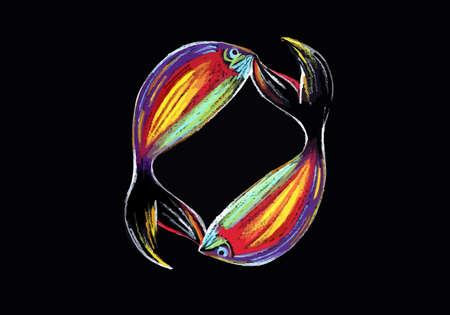 bunter fisch: zwei bunte Fische auf einem schwarzen Hintergrund Illustration