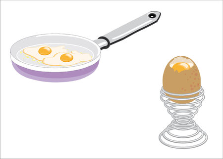 cooked eggs and fried egg cooked boiled, isolated on white background