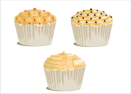 cupcakes isolated: frosted cupcake, decorated with sugar sprinkles, isolated on white background