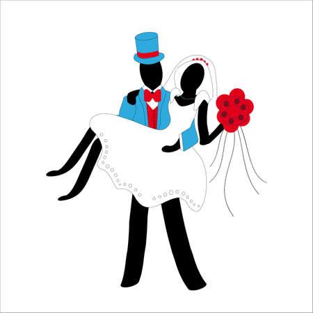 honeymooners: pareja casada estilizado, aislado en fondo blanco
