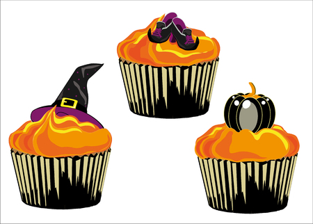frosted: three cupcake frosted and decorated for halloween, illustrated and isolated on white background