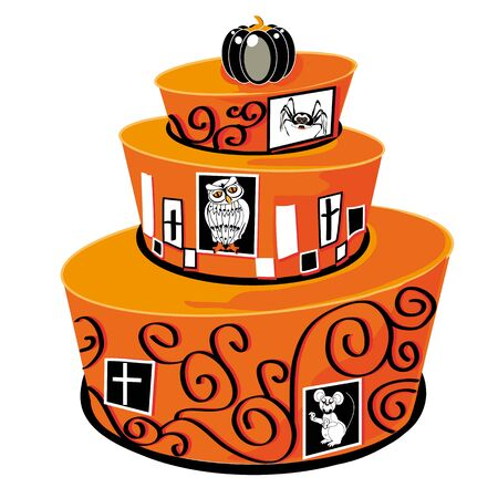 orange cake: three-layer cake halloween orange, illustrated and decorated with spirals and animals, a mouse, a spider and an owl, the last layer is laid a small pumpkin black, isolated on white background