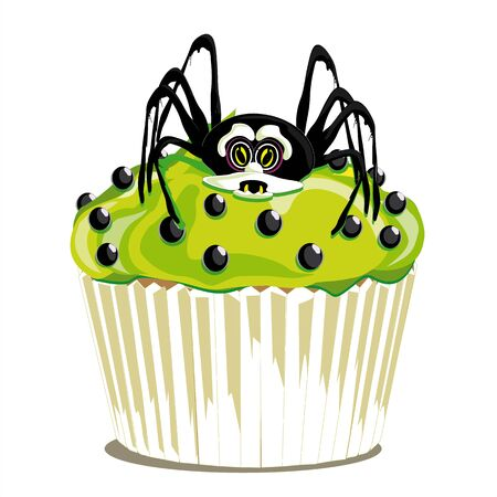 halloween cupcake covered with green icing and deorato with a black spider and sprinkles blacks, illustrated and isolated on white background Illustration