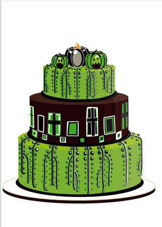 decorated cake: halloween cake in three layers, green, illustrated, and decorated isolated on white background Illustration