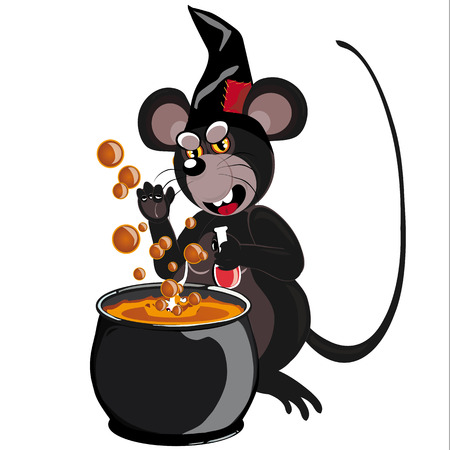sombrero de mago: ratón con sombrero de mago, prepara una poción en frente de un caldero, ilustrada y aislada en el fondo blanco Vectores