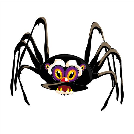 viola: Black Spider with purple eyes, illustrated and isolated on white background