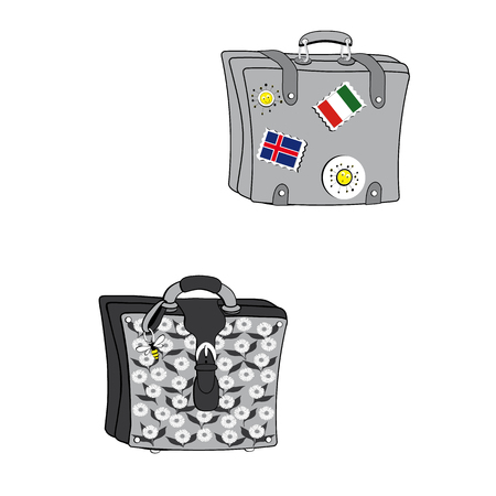 illustrated grgie two suitcases, a man with closure straps, decorated with flags and pins of the sun, a woman decorated with a pattern of daisies, closed with a cinnghia and with a pendant shaped like a bee Illustration