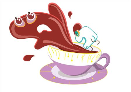 sugar cube jumping into a cup, the tea contained in the cup gets scared and runs away, and stylized illustrated on a white background