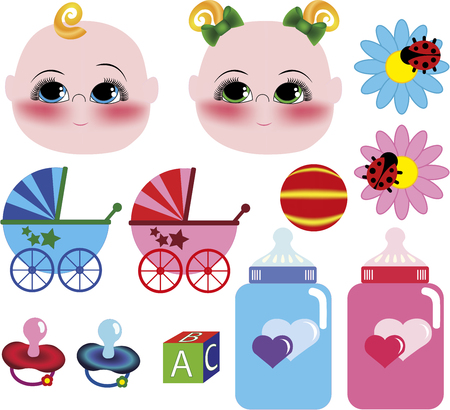 Vector baby icons, blue and pink on white background.