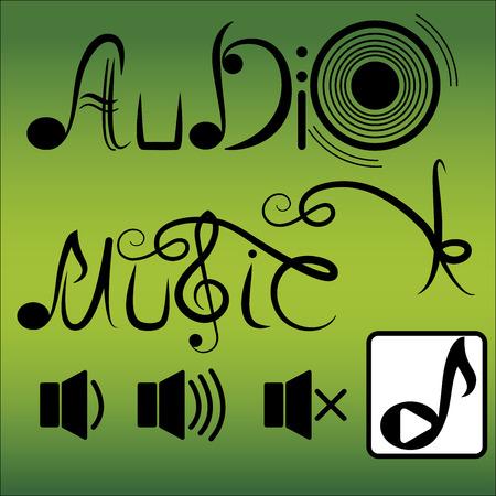 musically: Audio music illustration on green background, vector illustration.