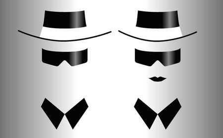 Icônes d'hommes et de femmes dans les lunettes de soleil Banque d'images - 93330713