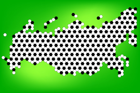 サッカーボールパターンを持つロシアの地図