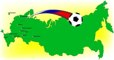Map of Russia with places of football matches
