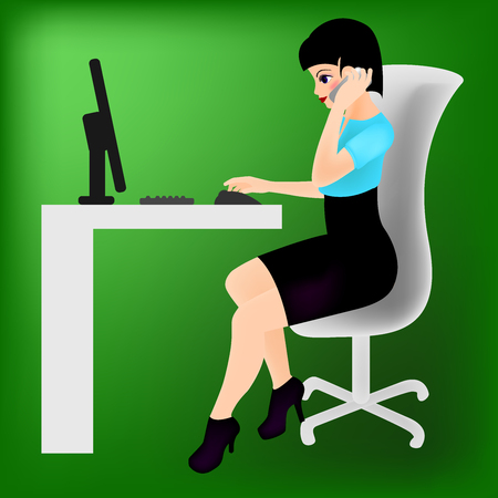 The secretary sitting at the table Illustration