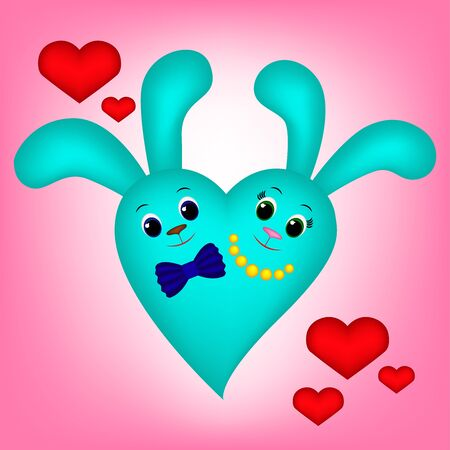 Cute blue bunny heart on pink background, girl and boy Illustration