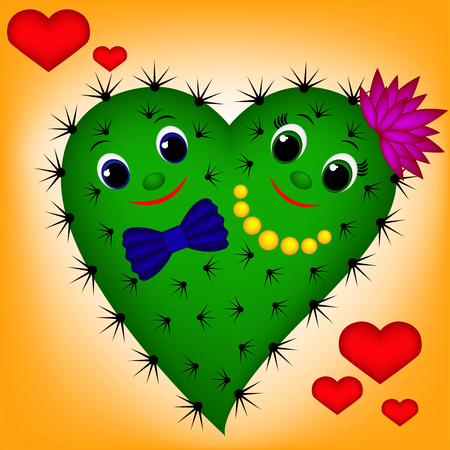 Cute green cactus heart on orange background, girl and boy