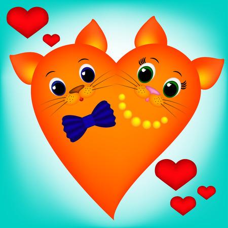 Cute orange cat-heart on blue background, girl and boy Illustration