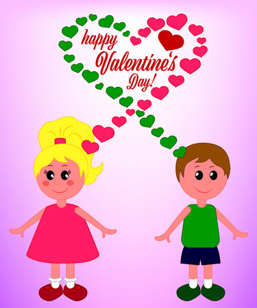 Girl and boy with thoughts-hearts, Happy Valentine's Day Card