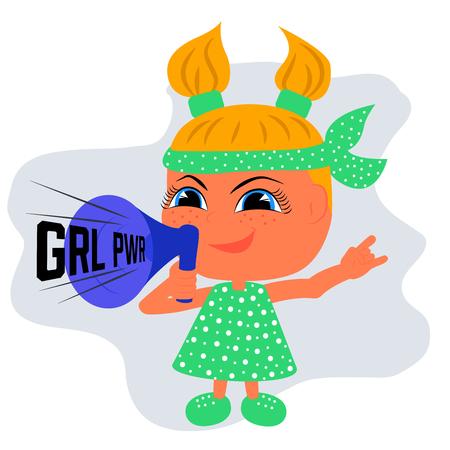 Girl in green dress with loud speaker
