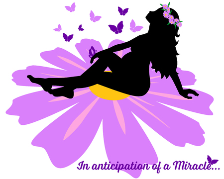 Pregnant young woman sitting on a big violet flower Stock Illustratie
