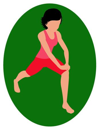Girl doing exercise on green background Illustration