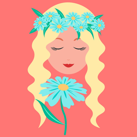 Young lady with blue chamomile on pink background