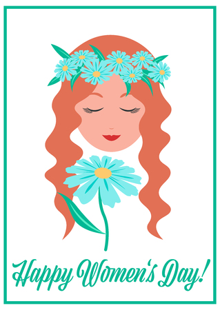 Women's day card, young lady with Chamomile