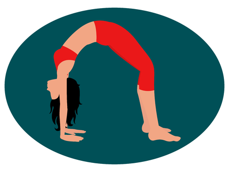 Girl doing an exercise bridge.  イラスト・ベクター素材