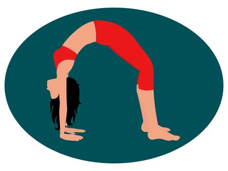 Girl doing an exercise bridge. Illustration