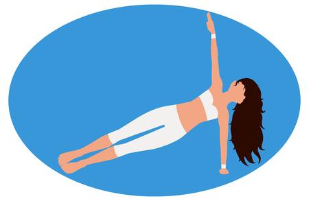 Girl doing an exercise side plank Illustration