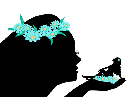 Silhouette of angel woman holding a pregnant woman in the palm Stock Illustratie