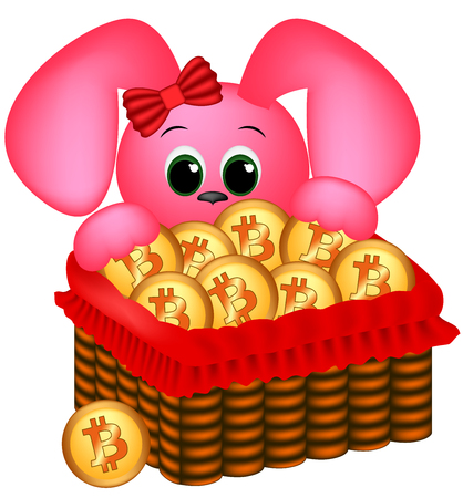 Bunny and easter basket with bitcoins