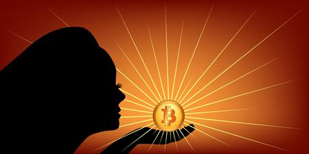 Woman silhouette with luminous bitcoin Векторная Иллюстрация
