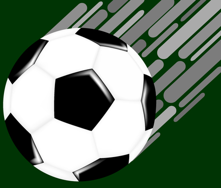 Flying soccer ball on green background  イラスト・ベクター素材