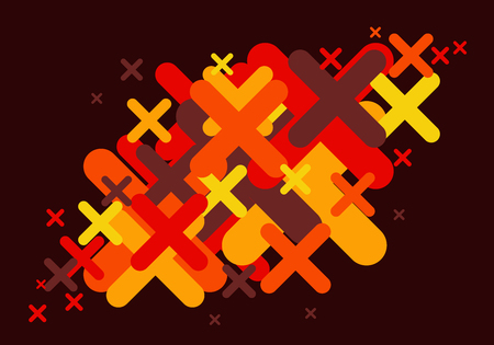 Crosses abstract background in warm colors  イラスト・ベクター素材