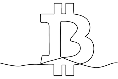 Continuous line drawing a bitcoin sign