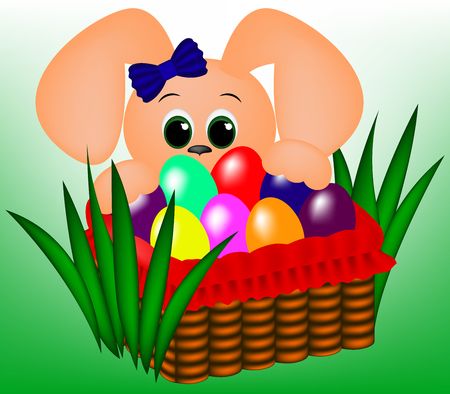 Bunny and easter basket with colored eggs vector illustration