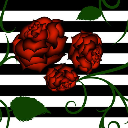 Roses seamless pattern on white-black striped background